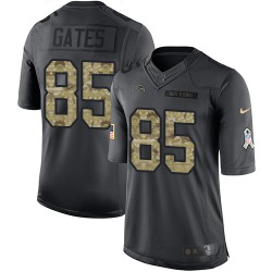 Limited Antonio Gates Men's Los Angeles Chargers Black 2016 Salute to Service Jersey - Nike