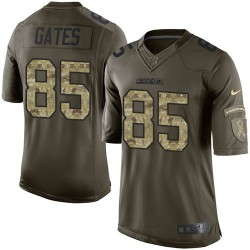 Limited Antonio Gates Men's Los Angeles Chargers Green Salute to Service Jersey - Nike