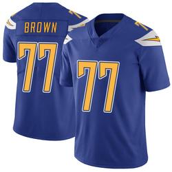Limited Chris Brown Men's Los Angeles Chargers Royal Color Rush Vapor Untouchable Jersey - Nike