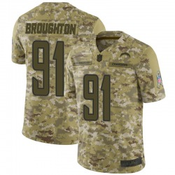 Limited Cortez Broughton Men's Los Angeles Chargers Camo 2018 Salute to Service Jersey - Nike