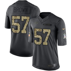Limited Jatavis Brown Men's Los Angeles Chargers Black 2016 Salute to Service Jersey - Nike