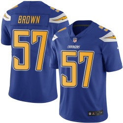 Limited Jatavis Brown Men's Los Angeles Chargers Blue Electric Color Rush Jersey - Nike