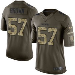 Limited Jatavis Brown Men's Los Angeles Chargers Green Salute to Service Jersey - Nike