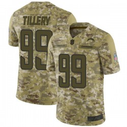 Limited Jerry Tillery Men's Los Angeles Chargers Camo 2018 Salute to Service Jersey - Nike
