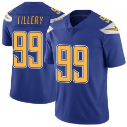 Limited Jerry Tillery Men's Los Angeles Chargers Royal Color Rush Vapor Untouchable Jersey - Nike