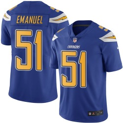 Limited Kyle Emanuel Men's Los Angeles Chargers Blue Electric Color Rush Jersey - Nike