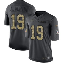 Limited Lance Alworth Men's Los Angeles Chargers Black 2016 Salute to Service Jersey - Nike