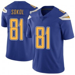 Limited Matt Sokol Men's Los Angeles Chargers Royal Color Rush Vapor Untouchable Jersey - Nike
