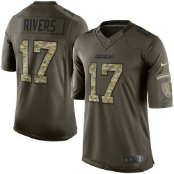 Limited Philip Rivers Men's Los Angeles Chargers Green Salute to Service Jersey - Nike