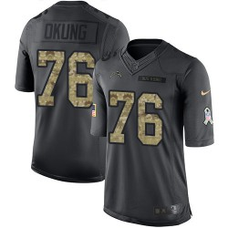 Limited Russell Okung Men's Los Angeles Chargers Black 2016 Salute to Service Jersey - Nike