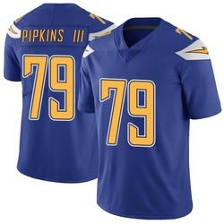 Limited Trey Pipkins Men's Los Angeles Chargers Royal Color Rush Vapor Untouchable Jersey - Nike