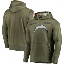 Men's Los Angeles Chargers Olive 2018 Salute to Service Sideline Therma Performance Pullover Hoodie - Nike