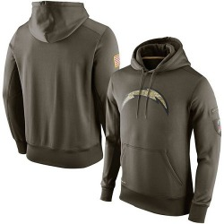 Men's Los Angeles Chargers Olive Salute To Service KO Performance Hoodie - Nike