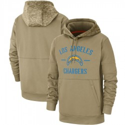 Men's Los Angeles Chargers Tan 2019 Salute to Service Sideline Therma Pullover Hoodie - Nike