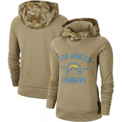 Women's Los Angeles Chargers Khaki 2019 Salute to Service Therma Pullover Hoodie - Nike