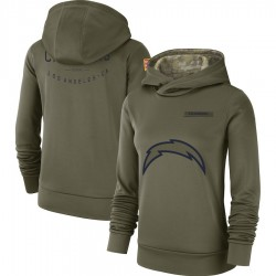 Women's Los Angeles Chargers Olive 2018 Salute to Service Team Logo Performance Pullover Hoodie - Nike