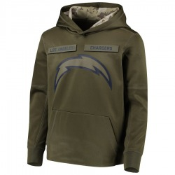 Youth Los Angeles Chargers Green 2018 Salute to Service Pullover Performance Hoodie - Nike