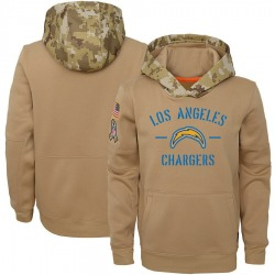 Youth Los Angeles Chargers Khaki 2019 Salute to Service Therma Pullover Hoodie - Nike